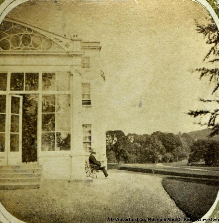 Man Sitting On Bench At Marlfield House, Clonmel