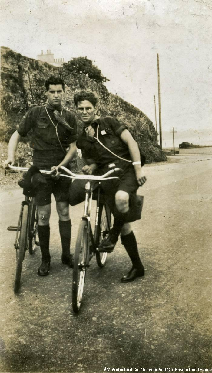 Two Boy Scouts With Their Bicycles