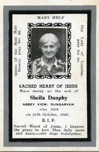 Mortuary Card, Sheila Dunphy, Abbey View, Dungarvan
