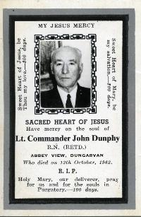Mortuary Card, Lieutenant Commander John Dunphy