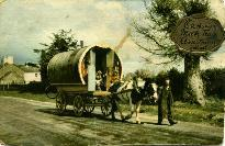 Barney Dunne Leading A Horse & Caravan Near Rathgormack