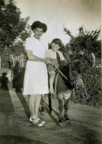 Lady With Child On Donkey