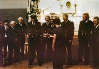 A Presentation Of Fishing Tackle To Captain Norman Frazer