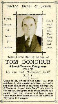 Mortuary Card, Captain Tom Donohue, Dungarvan